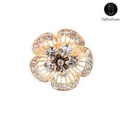 Taj Pearl White Crystal Floral Designer Ring